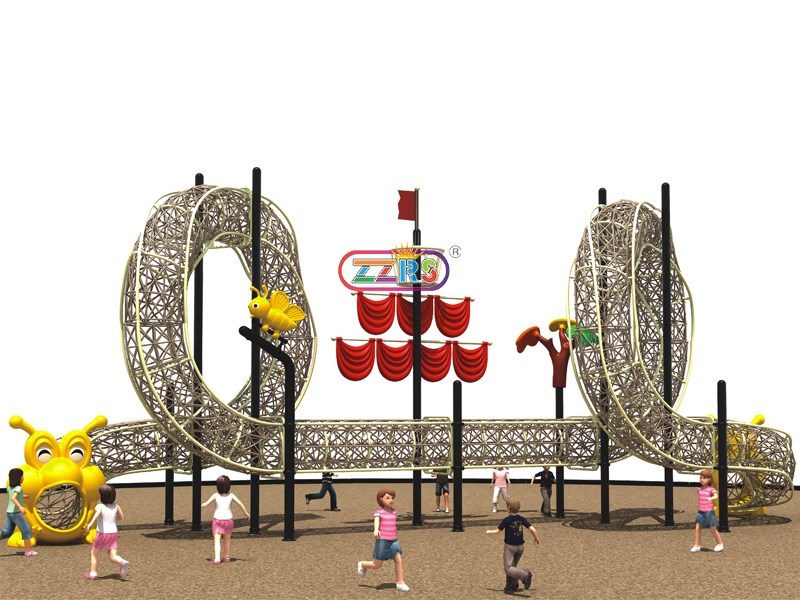 D242-2 <br>1350*580*600cm <br>  Kids Outdoor Physical Fitness Rope Course